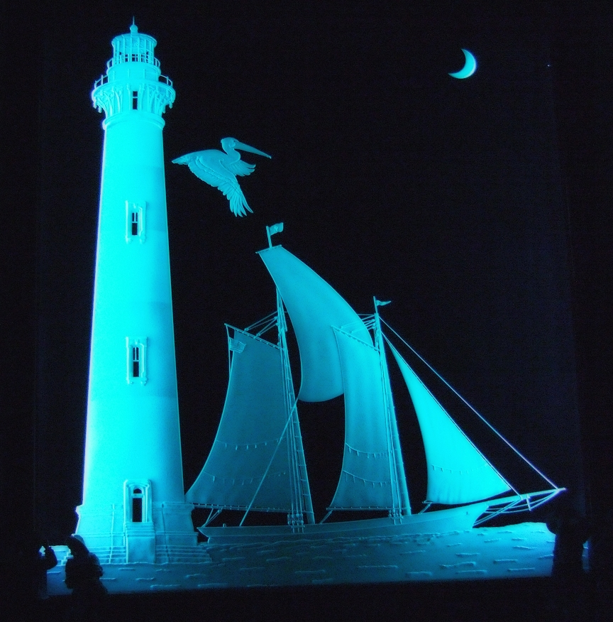 Sand Carved Glass_Morris Island Lighthouse and Spirit of South Carolina_Created by Lex Melfi