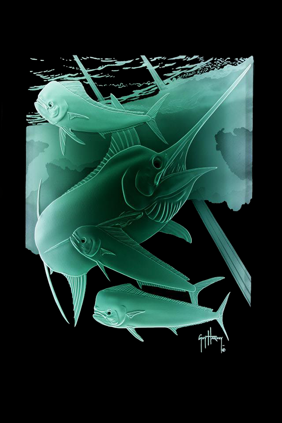Marlin Underwater Scene ~ Sand Carved Glass Created by Lex Melfi